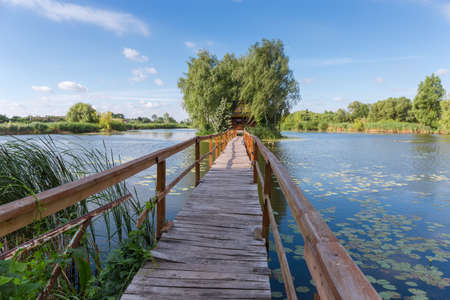 Photo for Small wooden footbridge to the tiny island with romantic fishing hut among trees on lake in summer morning. Staryi Solotvyn village, Ukraine - Royalty Free Image