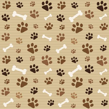 Ilustración de pattern with brown footprints and bones - Imagen libre de derechos