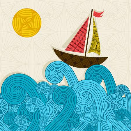 Illustration pour Boat on the waves - image libre de droit
