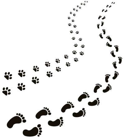 Ilustración de Animal and human footprints illustration. - Imagen libre de derechos