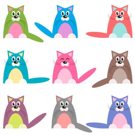 Illustrazione per cute colorful cats set - Immagini Royalty Free