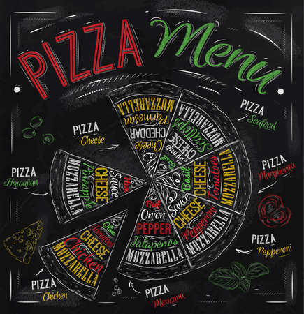 Illustration pour Pizza menu the names of dishes of Pizza, Hawaiian, cheese, chicken, pepperoni and other ingredients tomato, basil, olive, cheese to design a menu stylized drawing with chalk of red, green  Vector - image libre de droit
