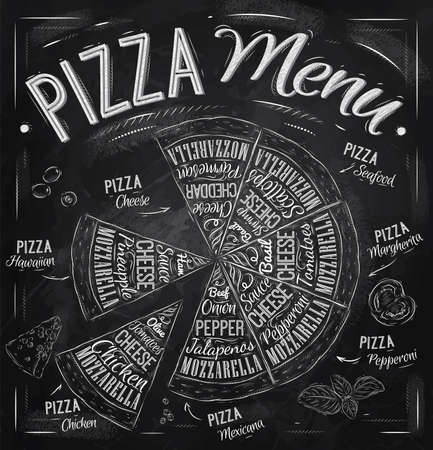 Illustration pour Pizza menu the names of dishes of Pizza, Hawaiian, cheese, chicken, pepperoni and other ingredients tomato, basil, olive, cheese to design a menu stylized drawing with chalk  Vector - image libre de droit