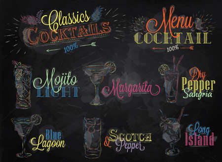 Illustration pour Set of cocktail menu in vintage style stylized drawing of colored chalk on a school blackboard, Cocktails with illustrated, the blue lagoon margarita Scotch - image libre de droit