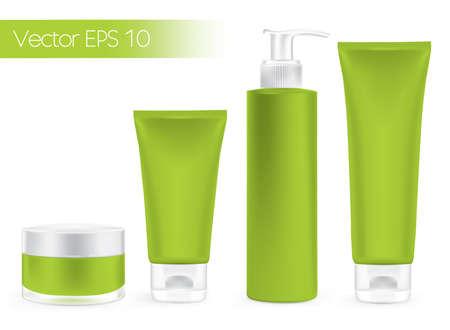 Illustration pour Packaging containers green color, package cream, Beauty products set  - image libre de droit