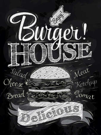 Ilustración de Poster lettering Burger House painted with a hamburger and inscriptions stylized drawing with chalk on blackboard   - Imagen libre de derechos