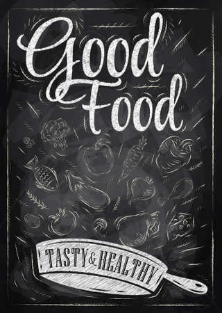 Illustration for Poster good food with frying pan in which the products fly stylized drawing with chalk on blackboard   - Royalty Free Image
