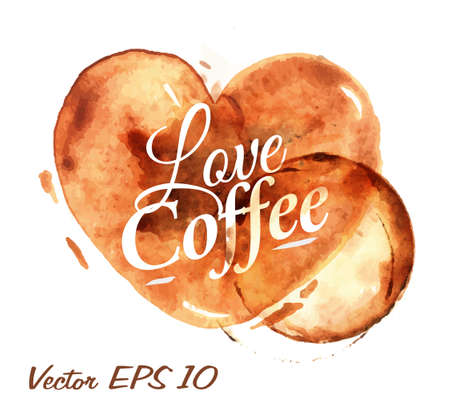 Ilustración de Heart drawn pour coffee with the inscription love coffee with splashes and blots prints Cup - Imagen libre de derechos