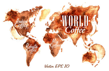Ilustración de World Map of coffee drawn pour coffee with the inscription arabica coffee, Robusta coffee with splashes and blots prints Cup - Imagen libre de derechos