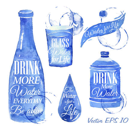 Ilustración de Pointer drawn pour water with the inscription water drink more water, Water for Life with splashes and blots prints bottle, of water, glass, drop, bottle of water   - Imagen libre de derechos
