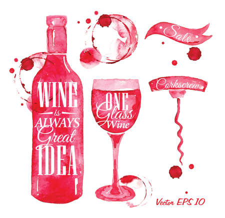 Ilustración de Pointer drawn pour wine with the inscription wine is always good idea with splashes and blots prints bottle, of wine, glass, a corkscrew  - Imagen libre de derechos