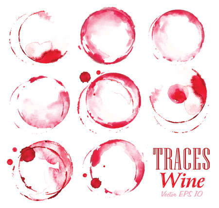 Ilustración de Set traces glass draw pour wine splashes and spot print. - Imagen libre de derechos