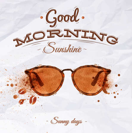 Illustration pour Poster coffee spot glasses with lettering Good morning sunshine Sunny days - image libre de droit