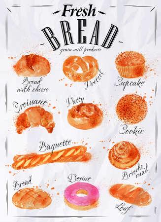 Ilustración de Bread products poster paper - Imagen libre de derechos