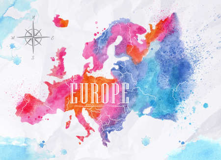 Illustration pour Watercolor Europe map pink blue - image libre de droit