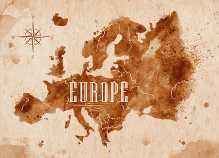 Illustration pour Map Europe retro - image libre de droit
