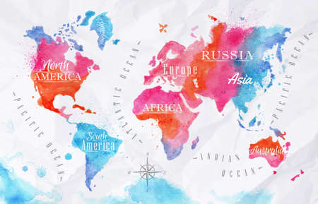 Illustration pour Watercolor world map pink blue - image libre de droit