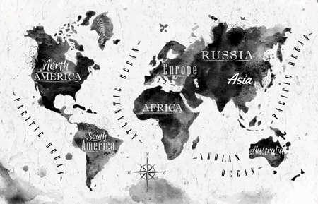 Illustration pour Ink world map - image libre de droit