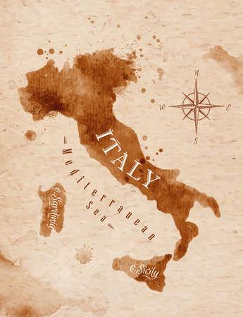 Ilustración de Map Italy retro - Imagen libre de derechos