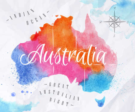 Illustration for Watercolor map Australia pink blue - Royalty Free Image