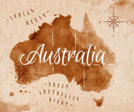 Illustration for Map Australia retro - Royalty Free Image