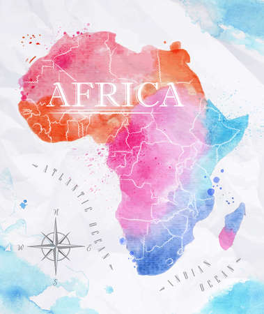 Illustration for Watercolor map Africa pink blue - Royalty Free Image