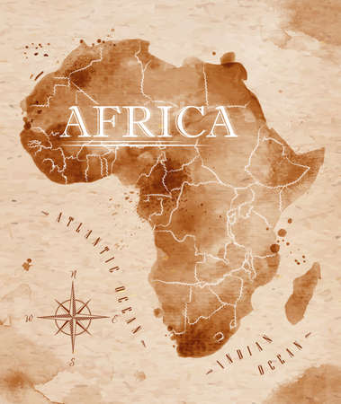 Illustration pour Map Africa retro - image libre de droit