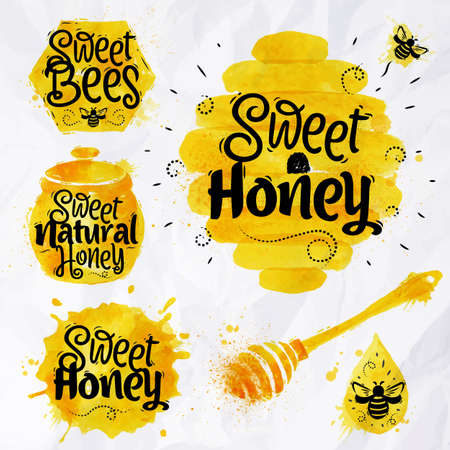 Illustration pour Watercolors of symbols on the topic of honey honeycomb, beehive, spot, the keg with lettering sweet honey, natural honey, sweet bees - image libre de droit