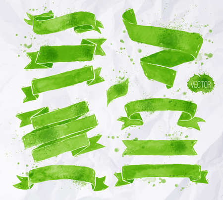 Illustration pour Watercolors ribbons in vector format in green colors on a background of crumpled paper - image libre de droit