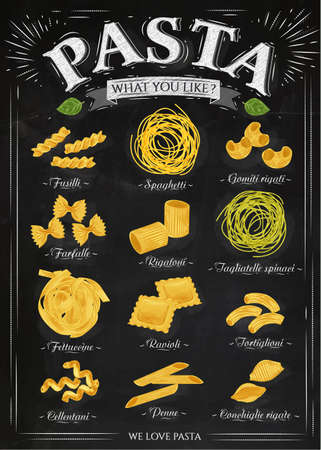 Illustration for Poster set of pasta with different types of pasta fusilli, spaghetti, gomiti rigati, farfalle, rigatoni, tagliatelle spinaci fettuccine, ravioli, tortiglioni, cellentani, penne, conchiglie rigate in retro style stylized drawing with chalk. Vector - Royalty Free Image