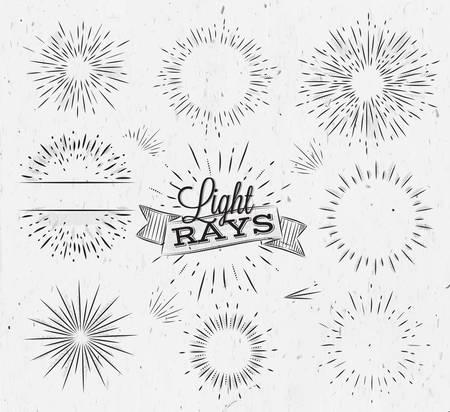 Ilustración de Set light ray in vintage style stylized drawing with coal - Imagen libre de derechos