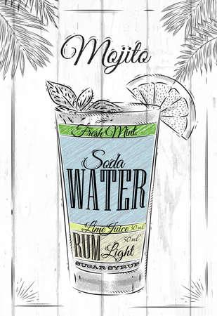 Ilustración de Mojito cocktail in vintage style stylized painted on wooden boards - Imagen libre de derechos