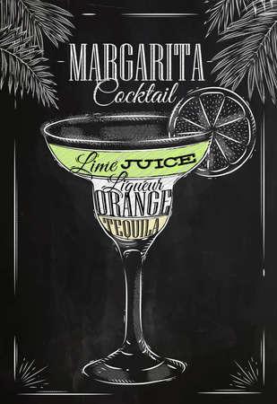 Ilustración de Margarita cocktail in vintage style stylized drawing with chalk on blackboard - Imagen libre de derechos