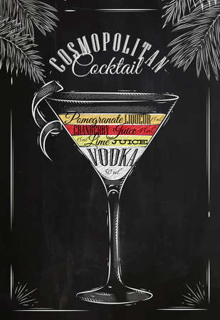 Ilustración de Cosmopolitan cocktail in vintage style stylized drawing with chalk on blackboard - Imagen libre de derechos
