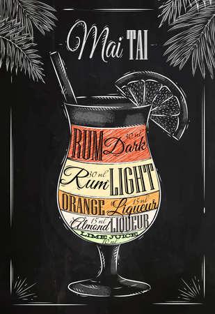 Ilustración de Mai tai  cocktail in vintage style stylized drawing with chalk on blackboard - Imagen libre de derechos