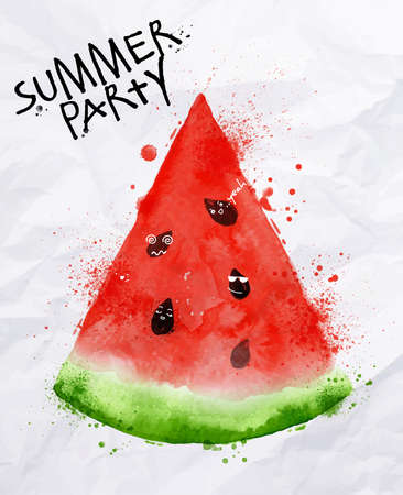 Ilustración de Poster summer party as a slices of watermelon and seeds goes party on background with crumpled paper - Imagen libre de derechos