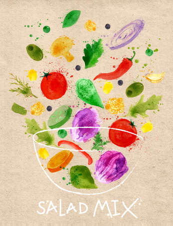 Photo pour Poster salad mix pour into a bowl drawn in an abstract watercolor for craft - image libre de droit