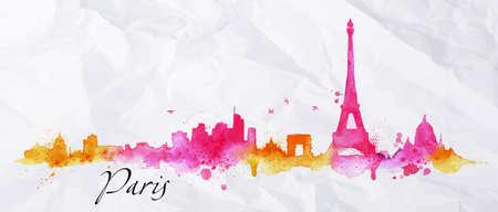 Illustration pour Silhouette Paris city painted with splashes of watercolor drops streaks landmarks in pink with orange tones - image libre de droit
