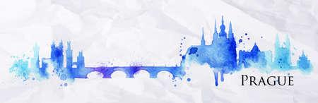 Illustration pour Silhouette Prague city painted with splashes of watercolor drops streaks landmarks in blue with violet tones - image libre de droit