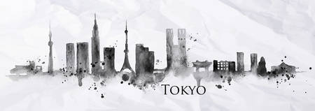 Illustration pour Silhouette of Tokyo city painted with splashes of ink drops streaks landmarks drawing in black ink on crumpled paper - image libre de droit