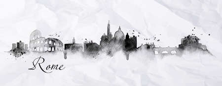 Illustration pour Silhouette Rome city painted in ink with spray droplets with streaks landmarks drawing in black ink on crumpled paper - image libre de droit