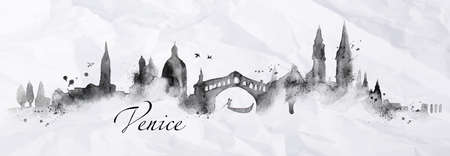 Illustration pour Silhouette Venice city painted with splashes of ink drops streaks landmarks drawing in black ink on crumpled paper - image libre de droit