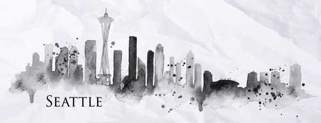 Illustration pour Silhouette Seattle neighborhood painted with splashes of ink drops streaks landmarks drawing in black ink on crumpled paper - image libre de droit