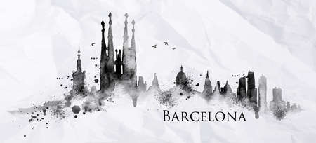 Illustration pour Silhouette Barcelona city painted with splashes of ink drops streaks landmarks drawing in black ink on crumpled paper - image libre de droit