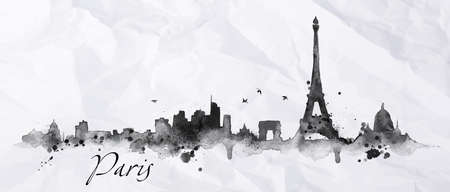 Foto de Silhouette Paris city painted with splashes of ink drops streaks landmarks drawing in black ink on crumpled paper - Imagen libre de derechos