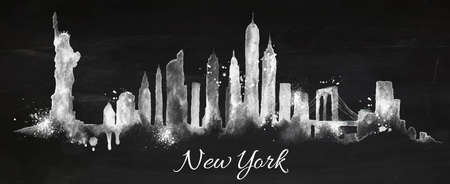 Illustration pour Silhouette New york city painted with splashes of chalk drops streaks landmarks drawing with chalk on blackboard - image libre de droit
