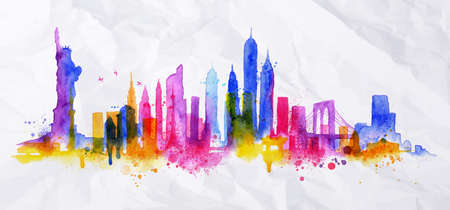 Illustration pour Silhouette overlay new york city painted with splashes of watercolor drops streaks landmarks with blue violet tones - image libre de droit