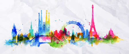 Illustration pour Silhouette overlay city with splashes of watercolor drops streaks landmarks in pink with orange tones - image libre de droit