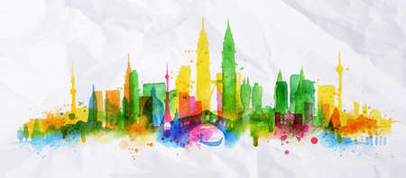 Illustration pour Silhouette overlay city painted with splashes of watercolor drops streaks landmarks with a yellow-green colors - image libre de droit