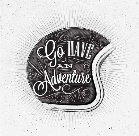 Illustration pour Tourist poster with lettering Go have an adventure on the motorcycle helmet in vintage style on old paper - image libre de droit